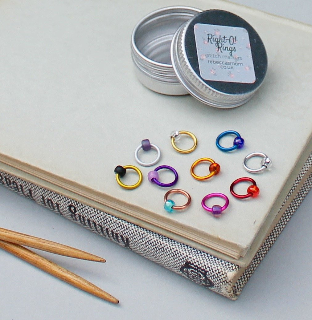 Stitch Markers knitting HARLEQUIN set with tin