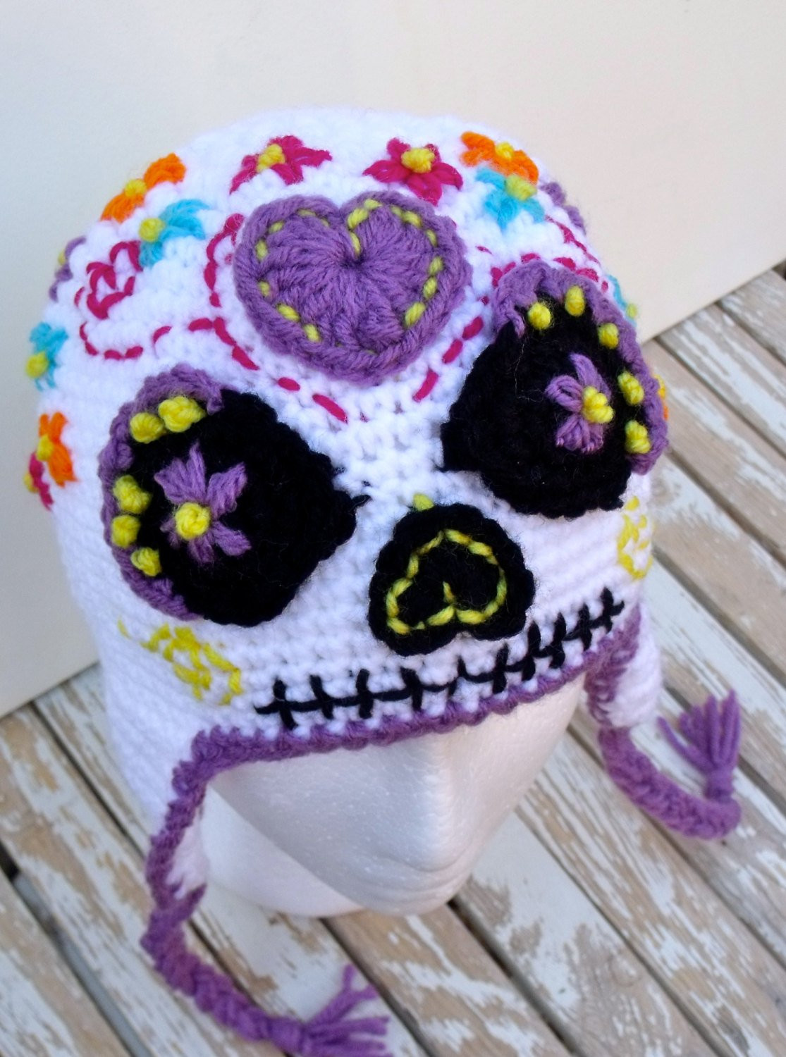 Lovely Sugar Skull Earflap Hat Halloween Day Of the Dead Dia De Crochet Sugar Skull Of Incredible 47 Pictures Crochet Sugar Skull