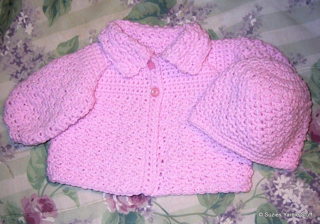 Lovely Suzies Stuff Suzie's Textured Baby Sweater and Hat C Crochet Baby Stuff Of Superb 43 Models Crochet Baby Stuff