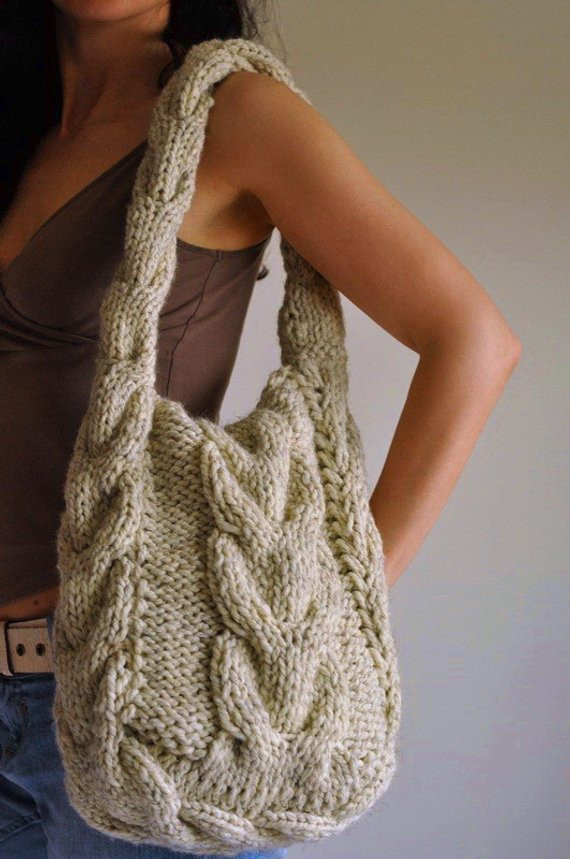 Lovely Texture Cable Shoulder Bag Hand Knit Hobo Designer Crossbody Knitted Purse Of Amazing 41 Pics Knitted Purse