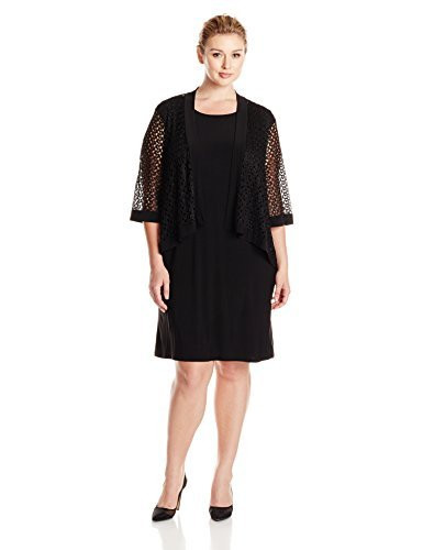 tiana b womens plus size jacket dress crochet lace with framing