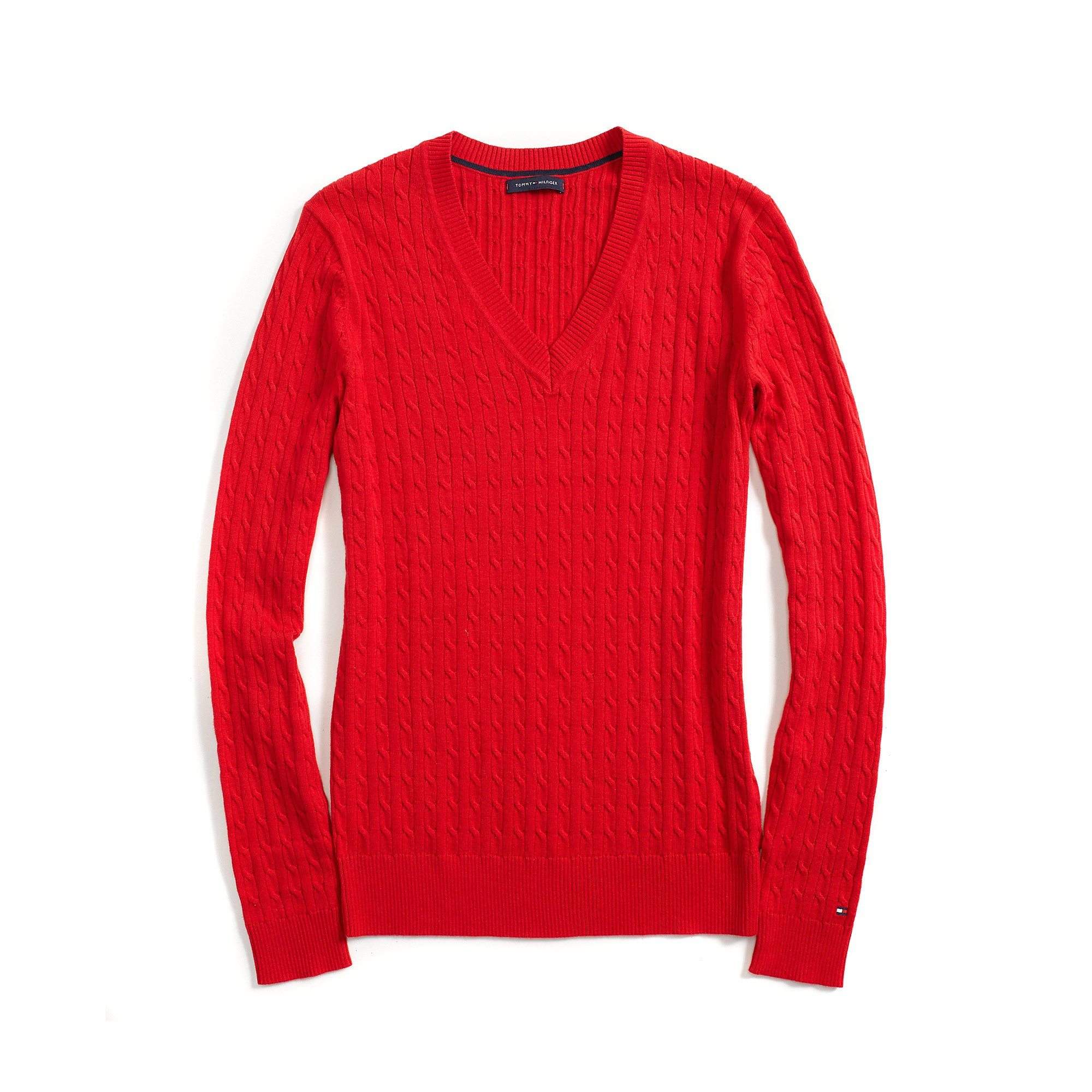 tommy hilfiger classic v neck cable knit sweater red