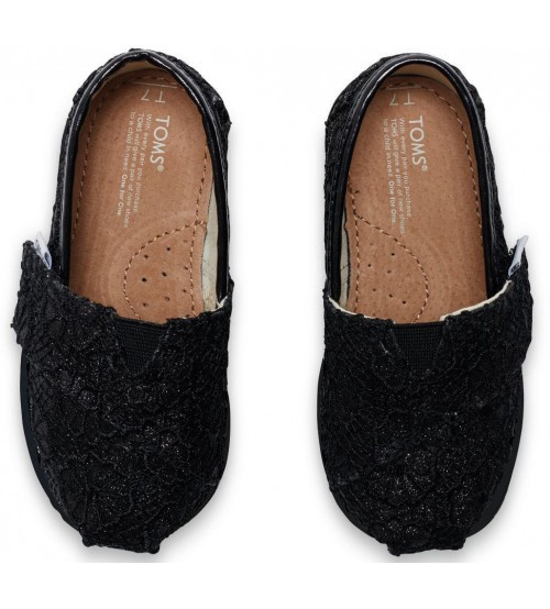 toms classic black crochet glitter tiny canvas shoes