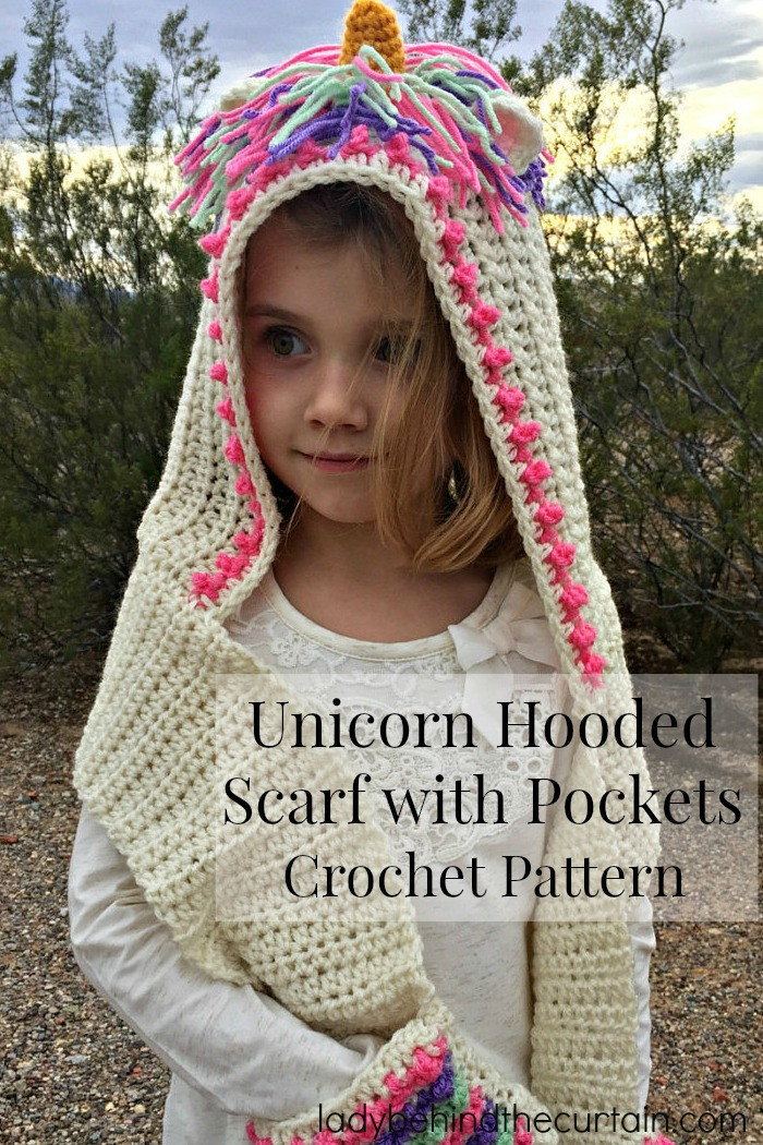 Lovely Unicorn Hooded Scarf with Pockets Crochet Pattern Hooded Scarf Pattern Of Brilliant 43 Pics Hooded Scarf Pattern
