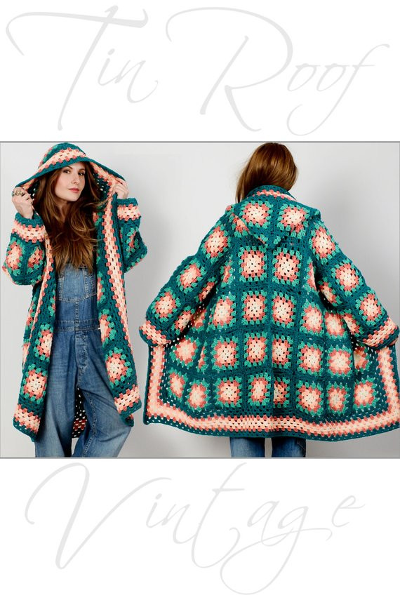 Lovely Vintage 70s Hooded Granny Square Cardigan Sweater Coat Jacket Granny Square Cardigan Of Innovative 50 Pics Granny Square Cardigan