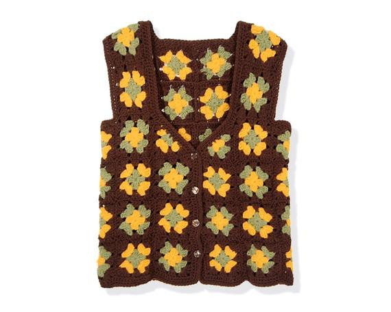 Lovely Vintage 70s Sleeveless Granny Squares Vest Sz L Brown Green Granny Square Vest Of Gorgeous 49 Photos Granny Square Vest