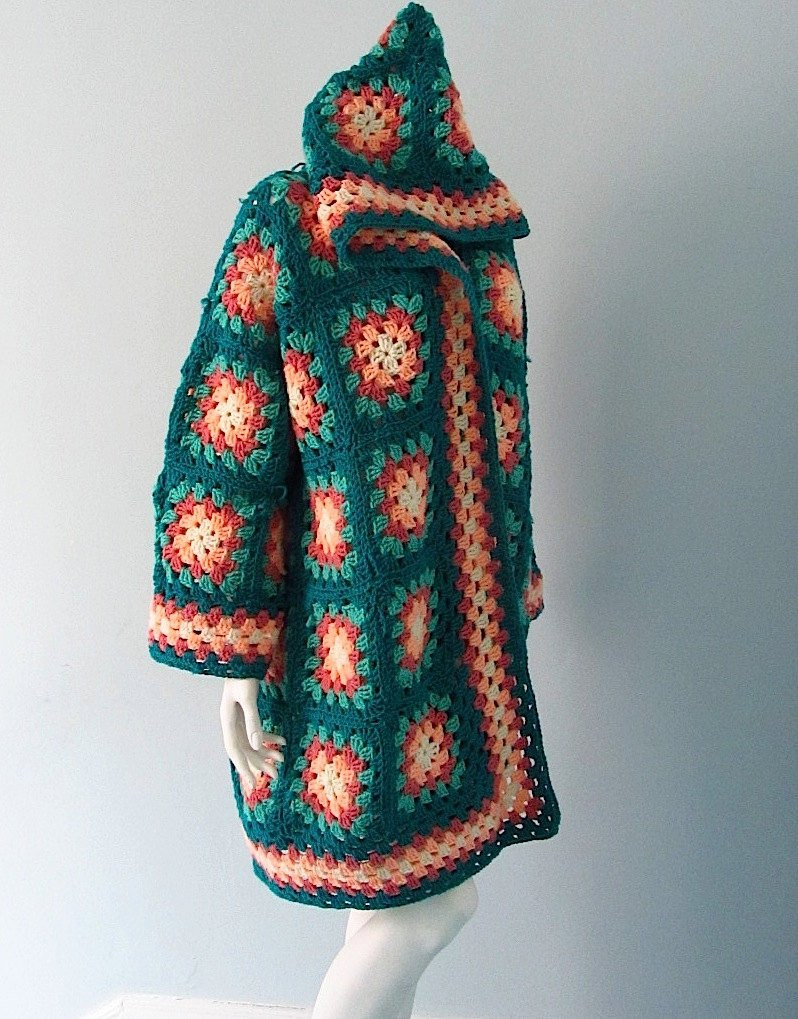 Lovely Vintage Crocheted Granny Square Jacket with Hood Granny Square Sweater Of Superb 45 Photos Granny Square Sweater