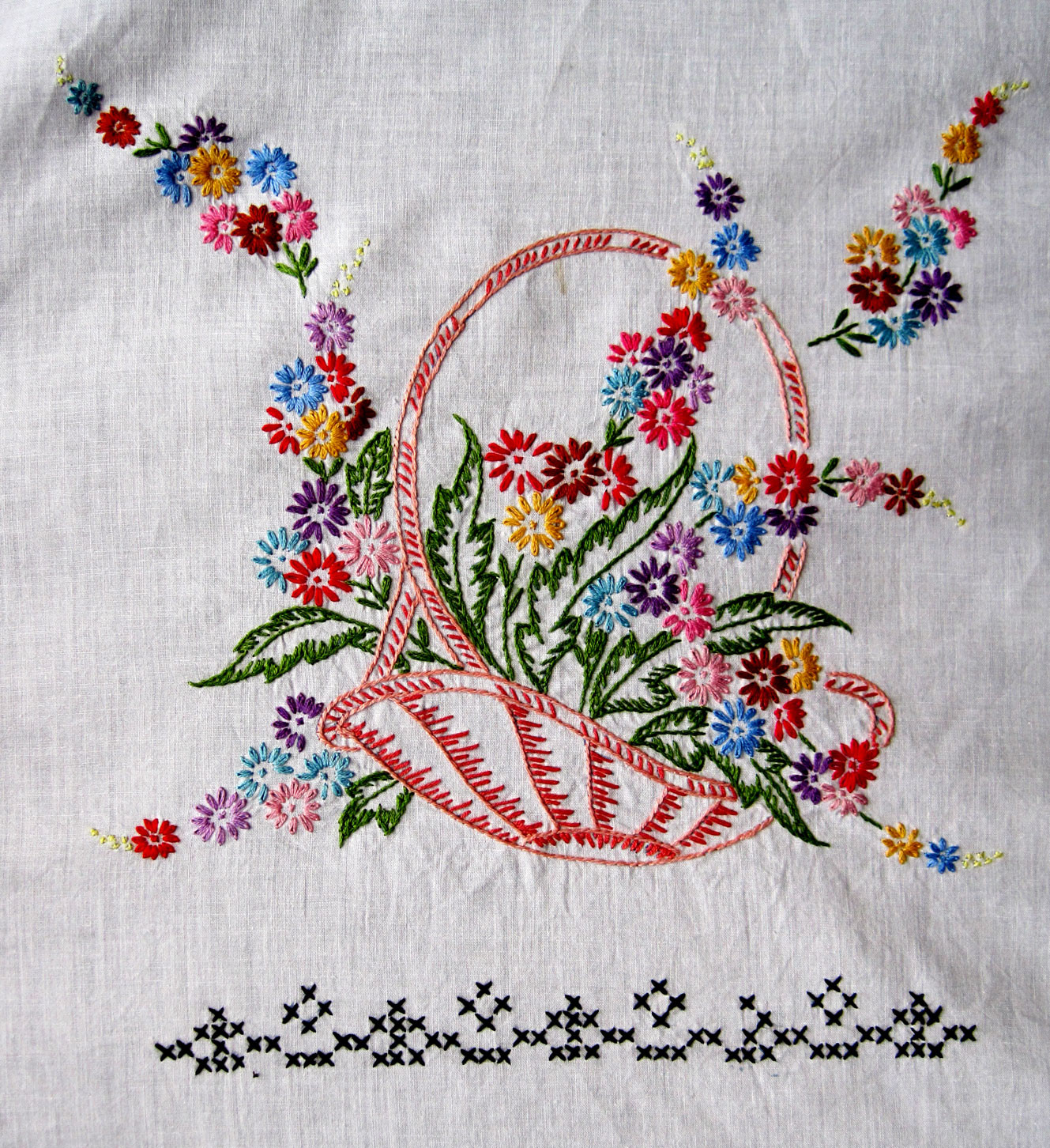 Lovely Vintage Embroidered Baskets Quilt top – Q is for Quilter Embroidery Quilt Patterns Of Contemporary 50 Pictures Embroidery Quilt Patterns
