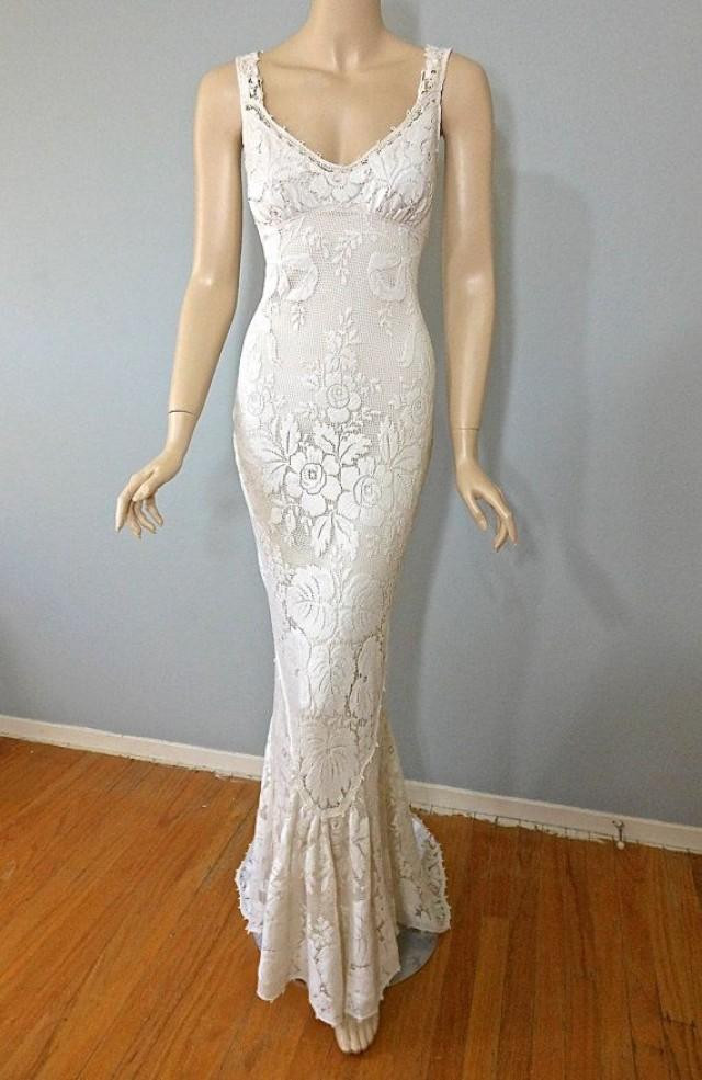 Vintage Style Victorian WEDDING Dress Crochet Ivory LACE