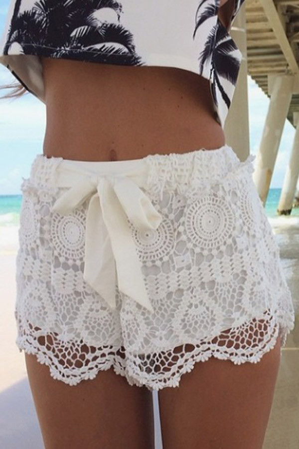 Lovely White Crochet Lace Bow Elastic Waist Shorts White Crochet Shorts Of Amazing 40 Photos White Crochet Shorts