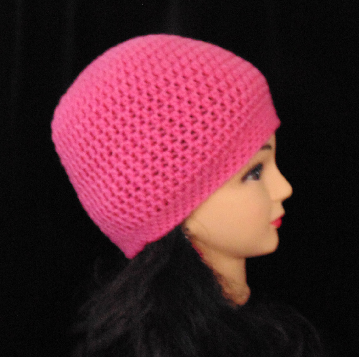 Lovely Womans Pink Crochet Beanie Hat for Winter or Spring Pink Crochet Hat Of Great 43 Models Pink Crochet Hat
