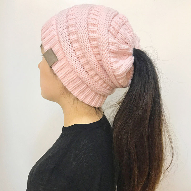 Lovely Women Stretch Knitted Beanie Hat Messy High Bun Ponytail Beanie Hat with Ponytail Hole Of Incredible 47 Photos Beanie Hat with Ponytail Hole