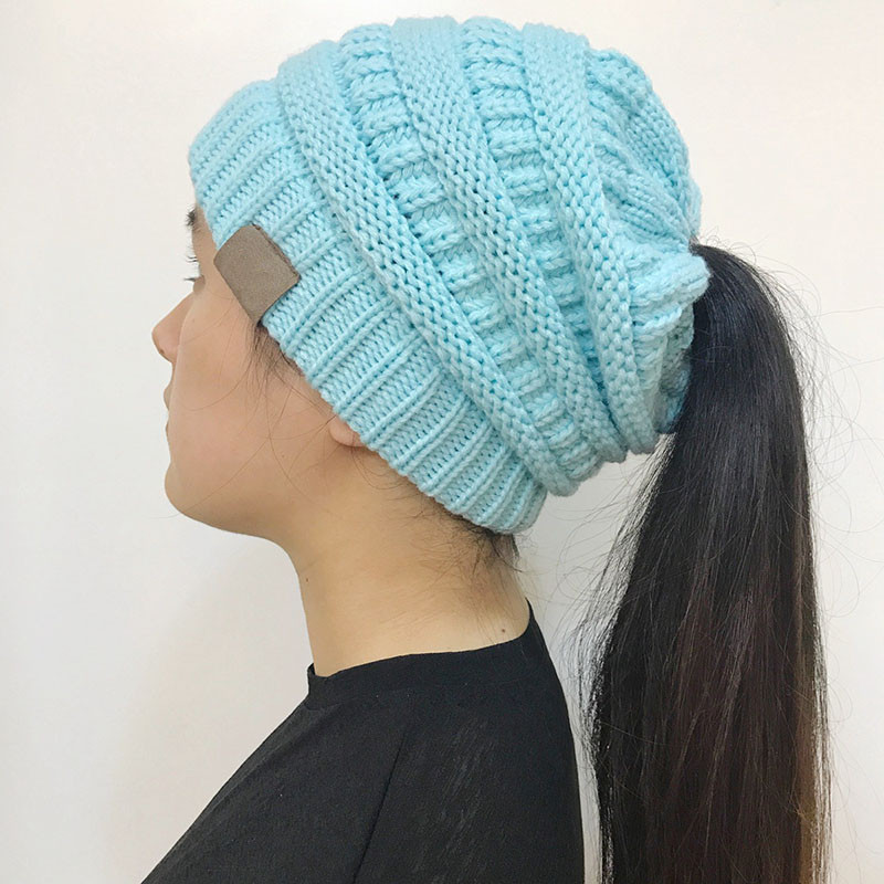 Lovely Women Stretch Knitted Beanie Hat Messy High Bun Ponytail Beanie with Hole for Bun Of Great 40 Pics Beanie with Hole for Bun