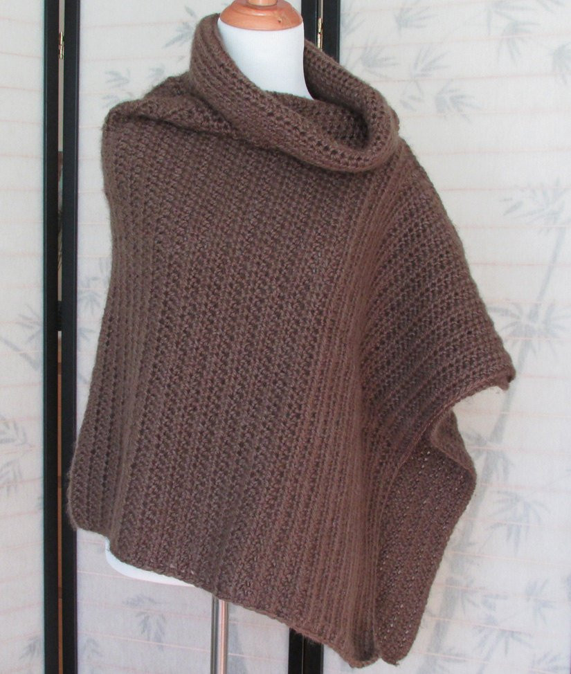 Lovely Womens Crochet Poncho Caffe Brown Cowl Neck Handmade Crochet Cowl Neck Poncho Of Beautiful 44 Pics Crochet Cowl Neck Poncho