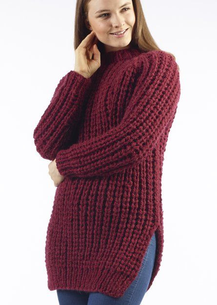 Yana Chunky Ribbed Jumper Free Knitting Pattern Material