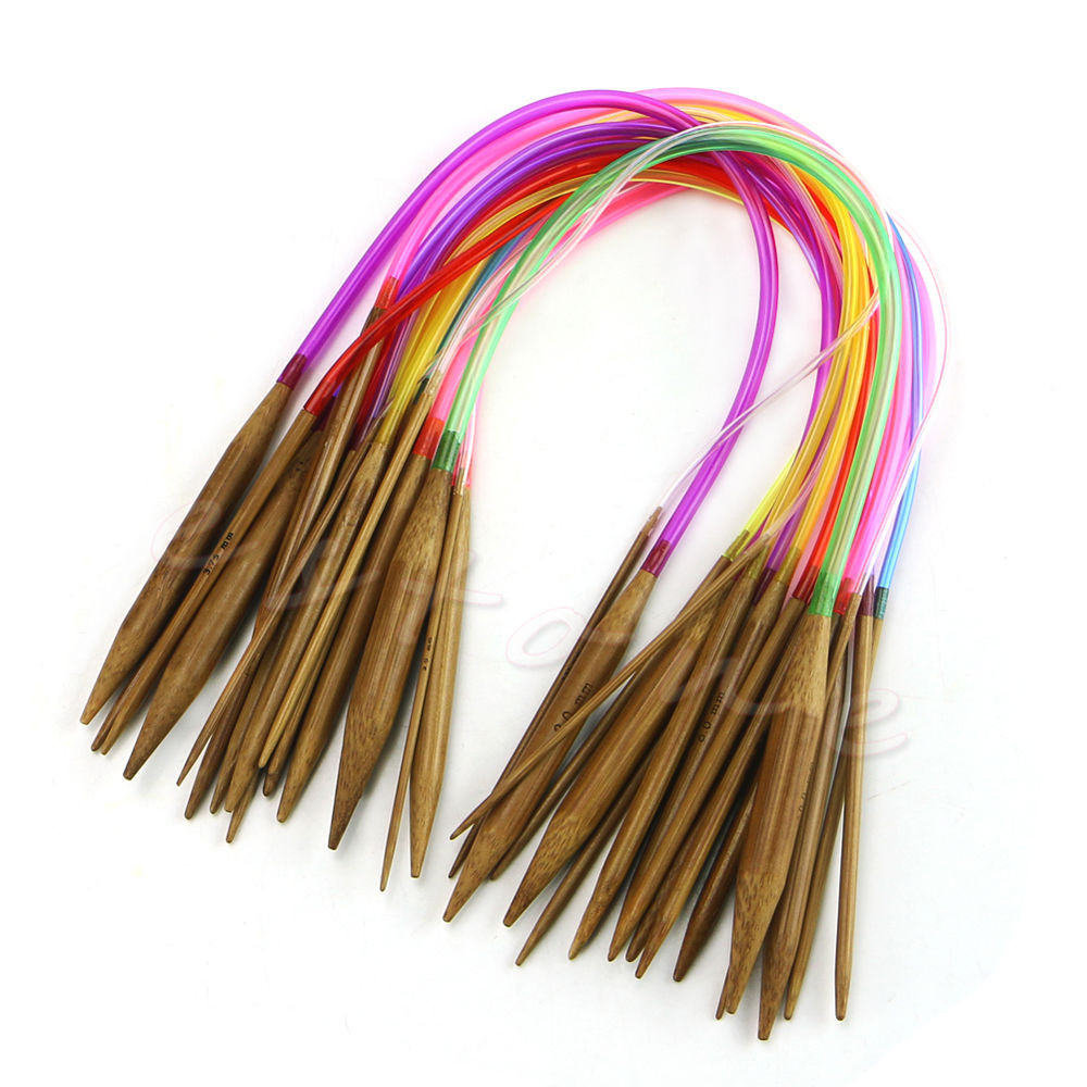 "Luxury 18pcs 16"" 40cm Multicolor Tube Circular Carbonized Bamboo Circular Needles Of Attractive 40 Models Circular Needles"