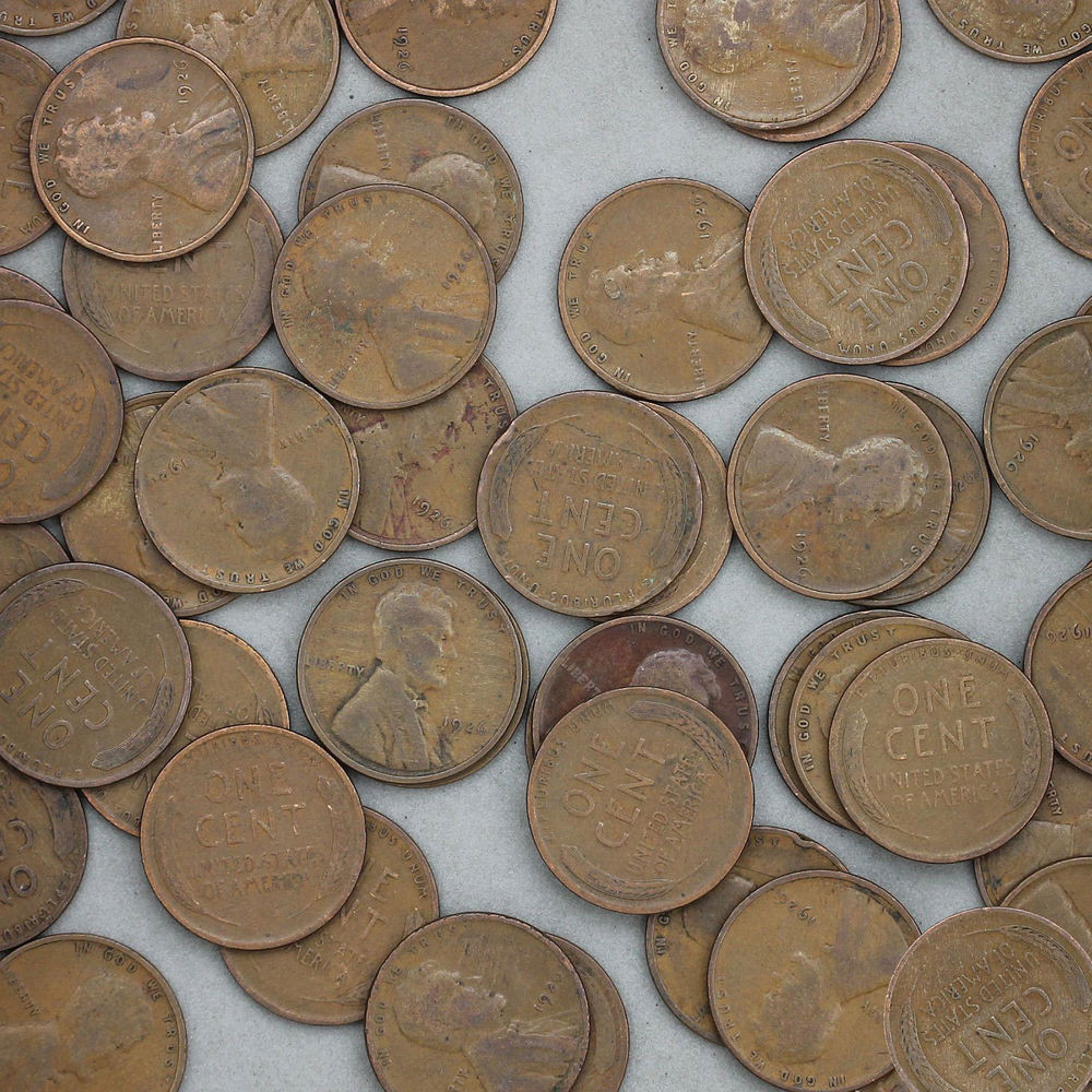 1926 Lincoln Wheat Cent Roll 50 Circulated Pennies US