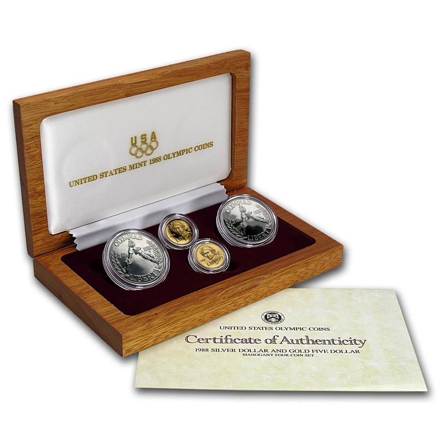 Luxury 1988 4 Coin Mem Olympic Set Bu & Proof Proof Sets Of Great 40 Photos Proof Sets