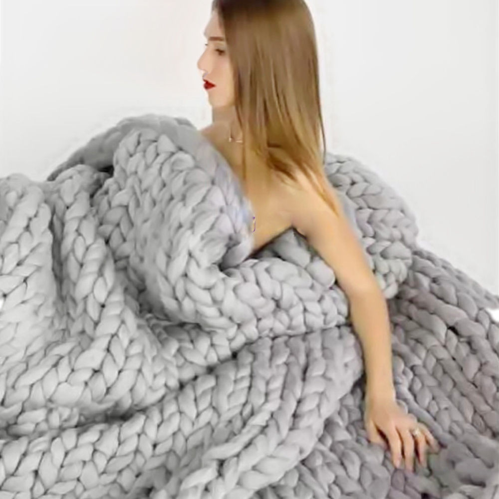 Luxury 3 Size Warm Chunky Knit Blanket Thick Yarn Wool Chunky Wool Yarn Blanket Of Great 47 Images Chunky Wool Yarn Blanket