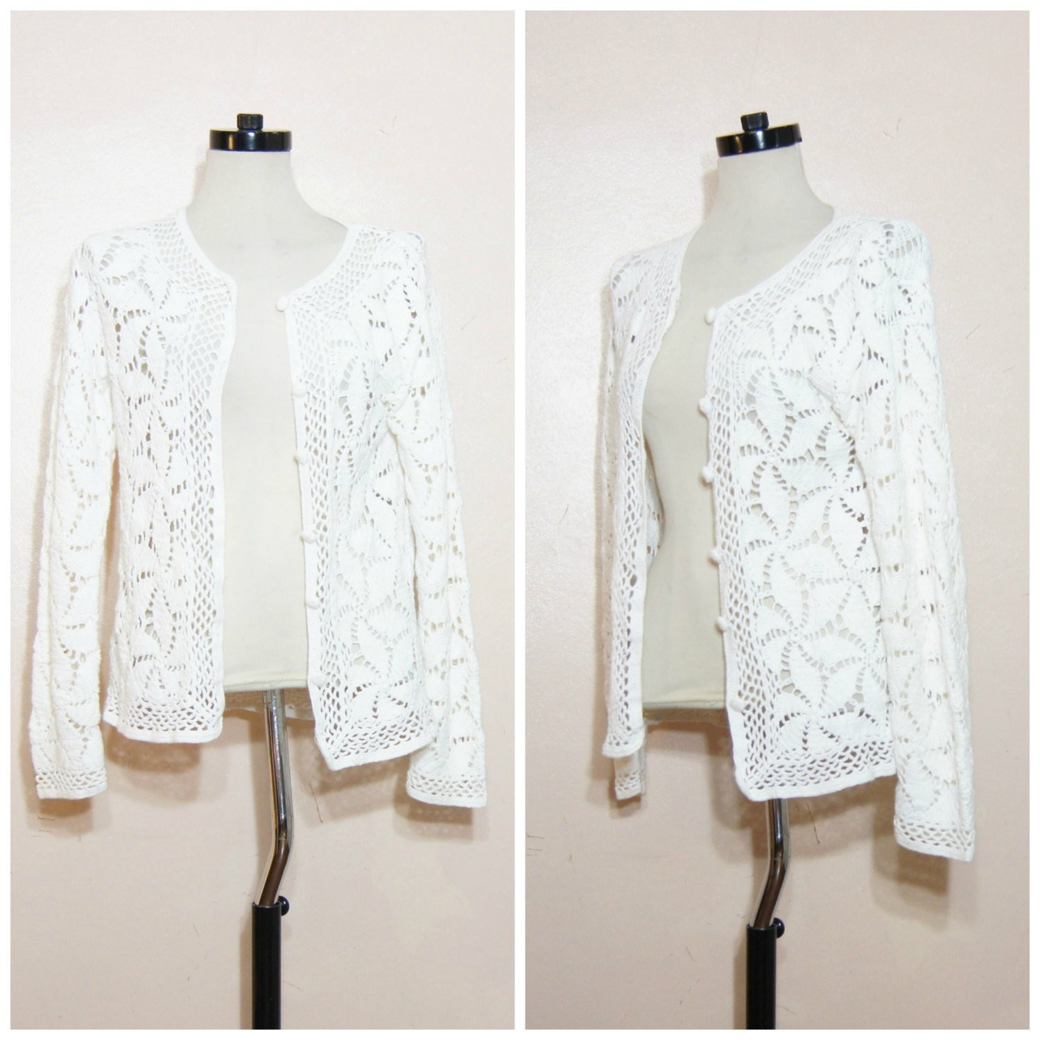 90s White Crochet Cardigan Sweater Small Open by
