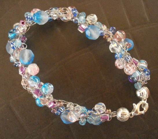 Luxury A Pretty Blue and Pink Wire Crochet Bracelet the Beading Crochet Wire Jewelry Of Attractive 41 Ideas Crochet Wire Jewelry