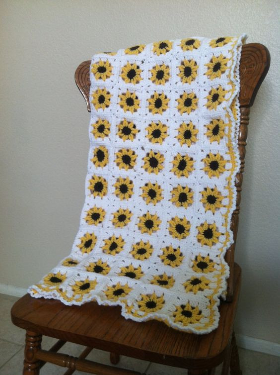 Luxury Adorable Yellow Sunflower Crochet Baby Blanket Afghan Sunflower Crochet Blanket Of Elegant Hand Crocheted Sunflower Granny Square Blanket Afghan Throw Sunflower Crochet Blanket