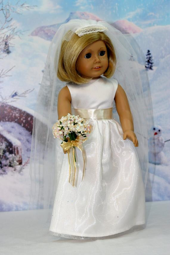 Luxury American Girl Doll Fashion Wedding Dress with Off White Ribbon American Girl Doll Wedding Dress Of Beautiful American Girl Doll Wedding Dress Satin and Silver American Girl Doll Wedding Dress