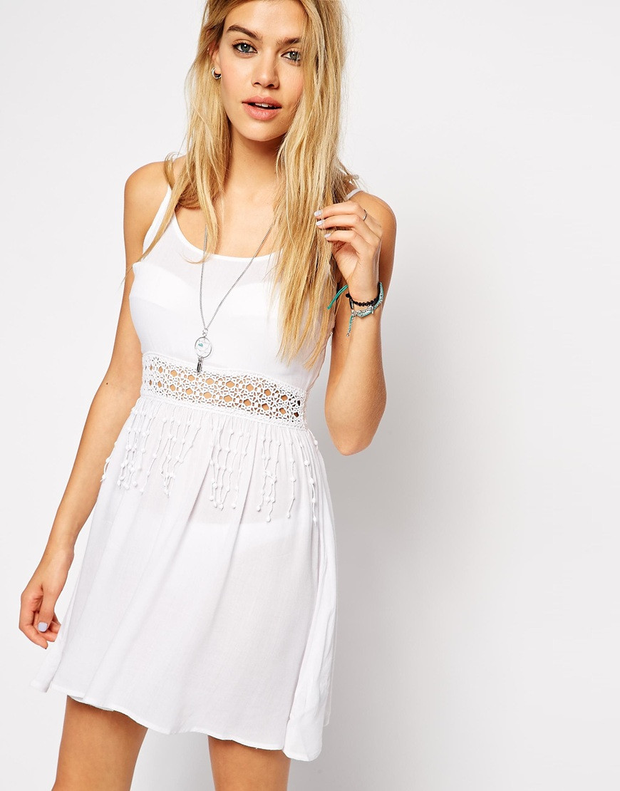 Asos Crochet Waist Insert Beach Dress in White