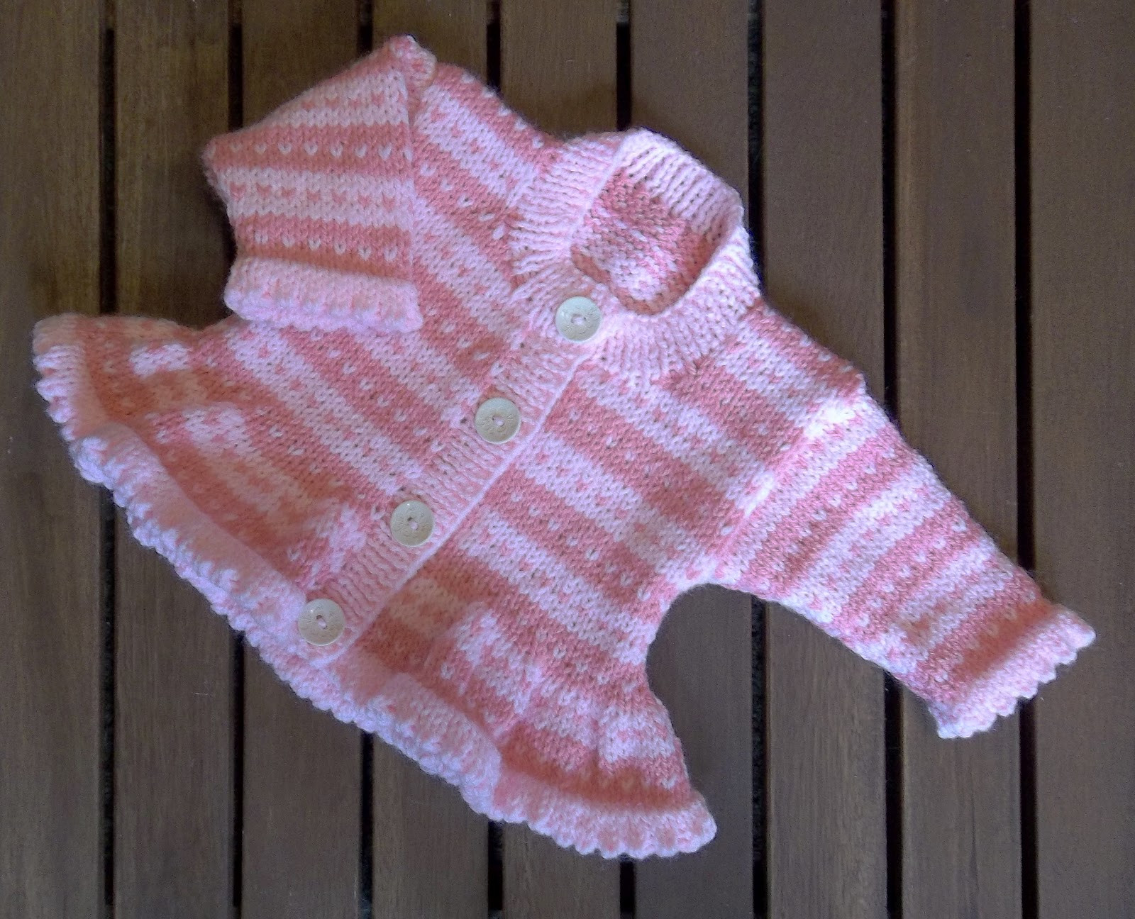 baby girl pink stripe fair isle