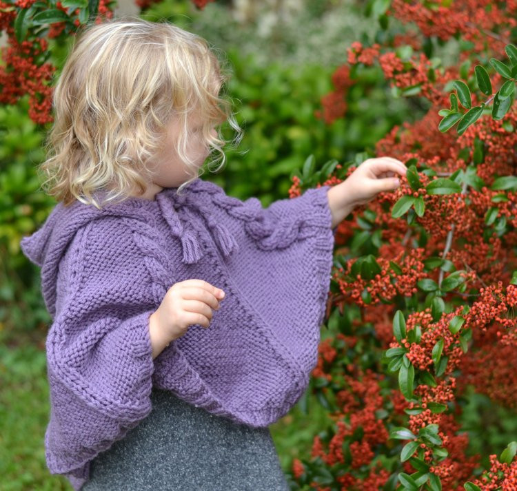 BABY KNITTING PATTERNS poncho cabled by jessicarosehandknits