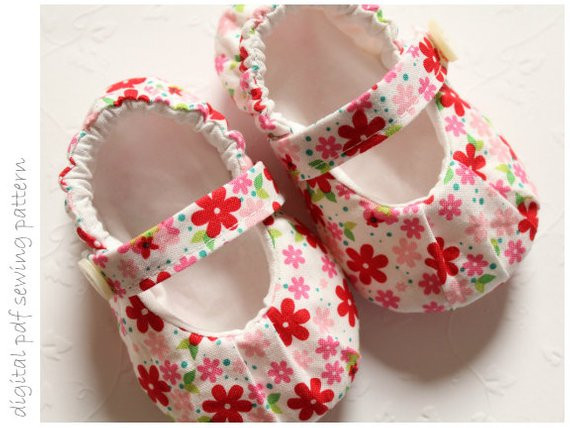 Baby Shoe Pattern Ruched Mary Janes Sizes 1 to 5