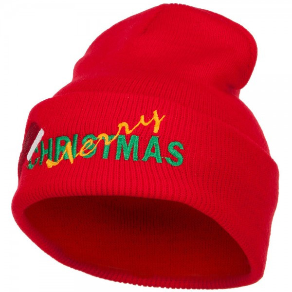 merry christmas santa hat embroidered long beanie red