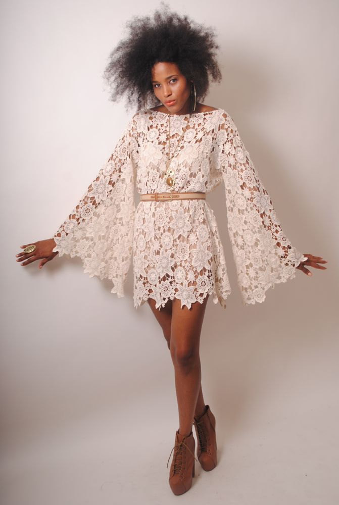 BELL SLEEVE vintage inspired 70s style ivory LACE crochet