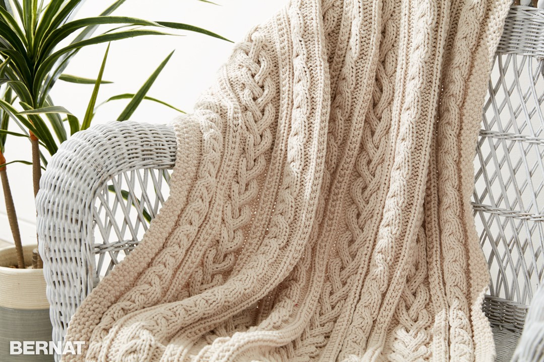 Bernat Braided Cables Knit Throw Knit Pattern