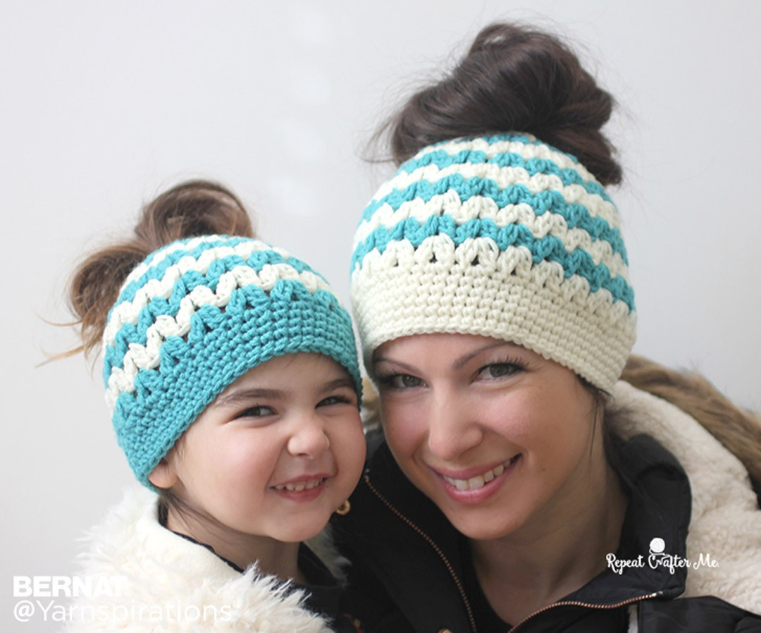 Luxury Bernat Mommy and Me Messy Bun Hats Crochet Pattern Crochet Messy Bun Of Contemporary 41 Images Crochet Messy Bun
