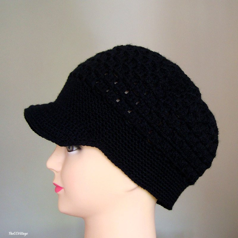 black crochet women hat crochet teen