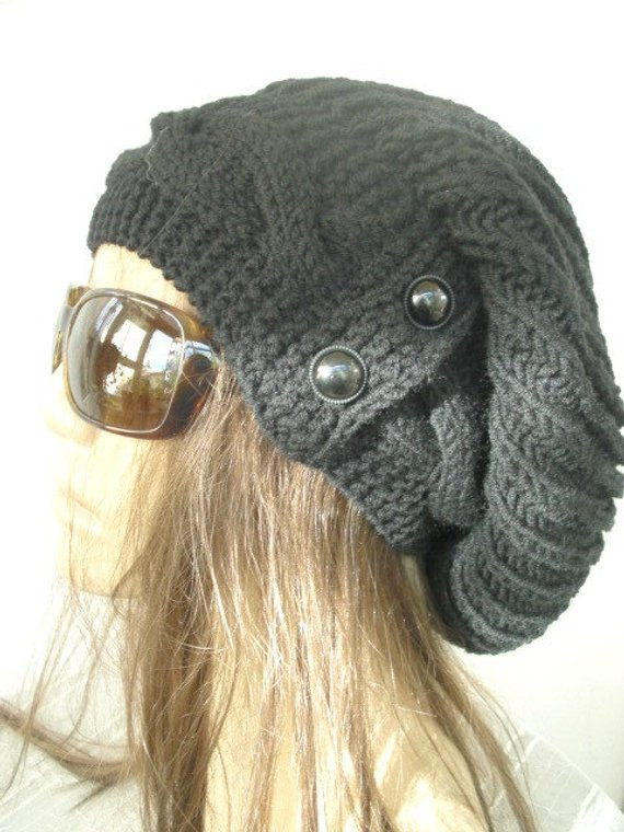 Luxury Black Slouchy Hat with button Knit Hat Womens Hat by Ebruk Black Slouchy Beanie Of Great 40 Models Black Slouchy Beanie