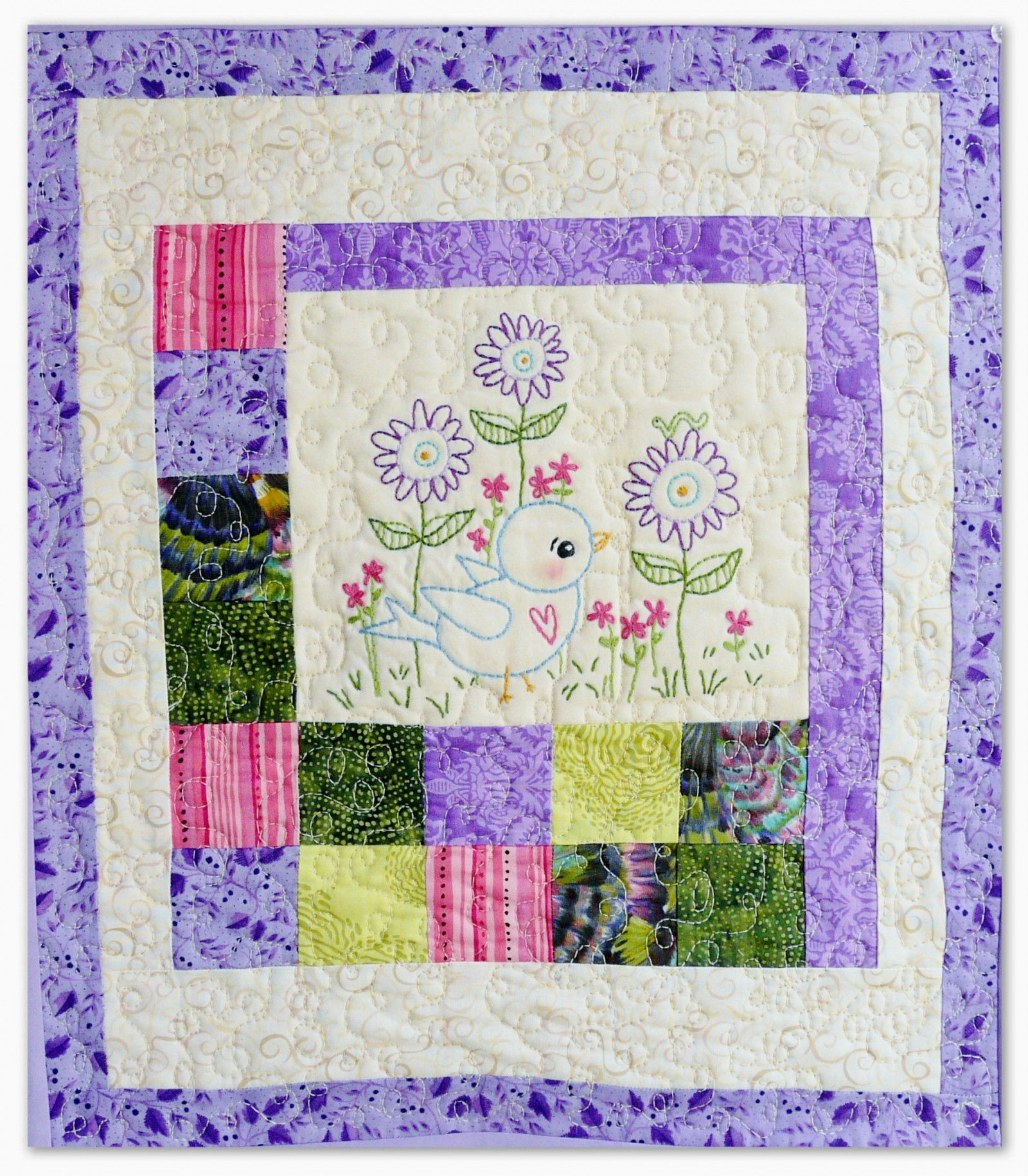 Blue Bird of happiness embroidery quilt pattern