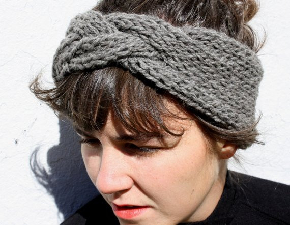 Luxury Braided Headband In Slate Grey Hand Knit From Pure Braided Knit Headband Of Amazing 42 Pics Braided Knit Headband