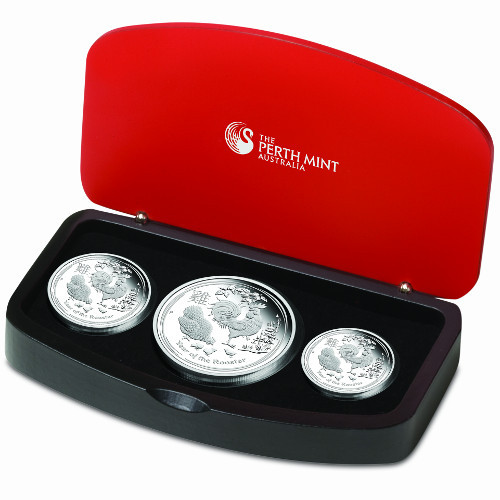 2017 proof silver australian rooster 3 coin sets