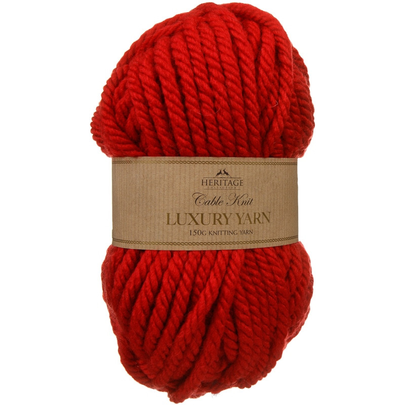 Cable Knit Yarn 150g Red