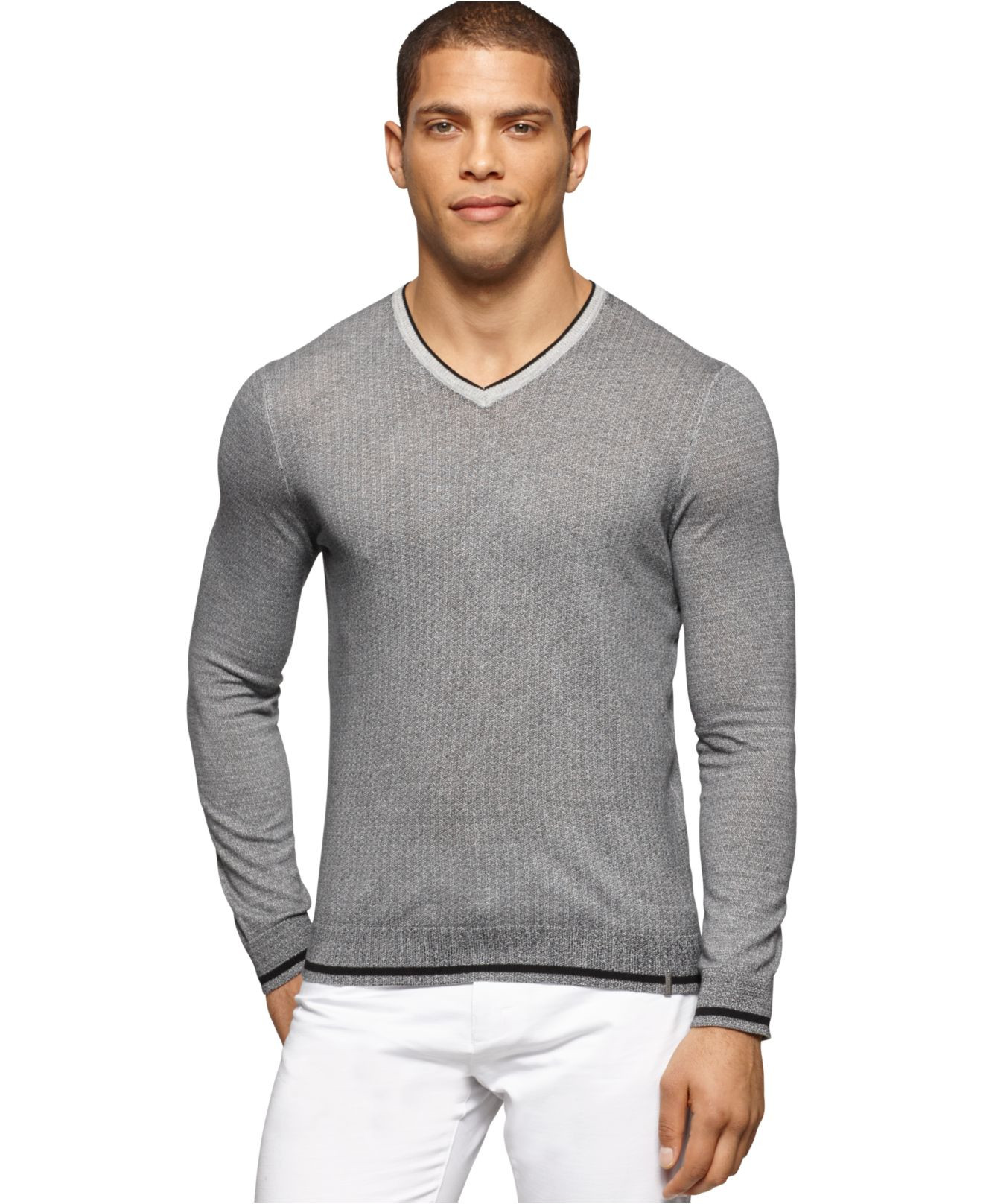 Luxury Calvin Klein V Neck Micro Cable Knit Sweater In Gray for V Neck Cable Knit Sweater Of Great 44 Pictures V Neck Cable Knit Sweater