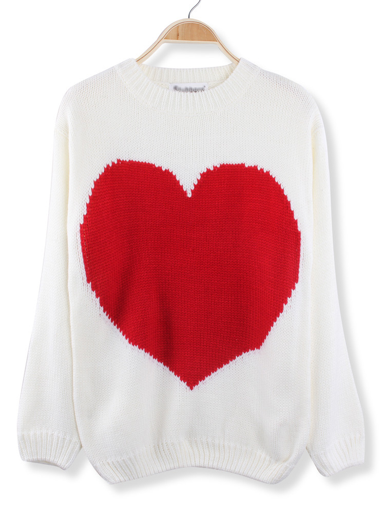 Luxury Casual Big Red Heart Printed Knitted Pullover Sweater at Red Heart Sweater Of Lovely 32 Ideas Red Heart Sweater