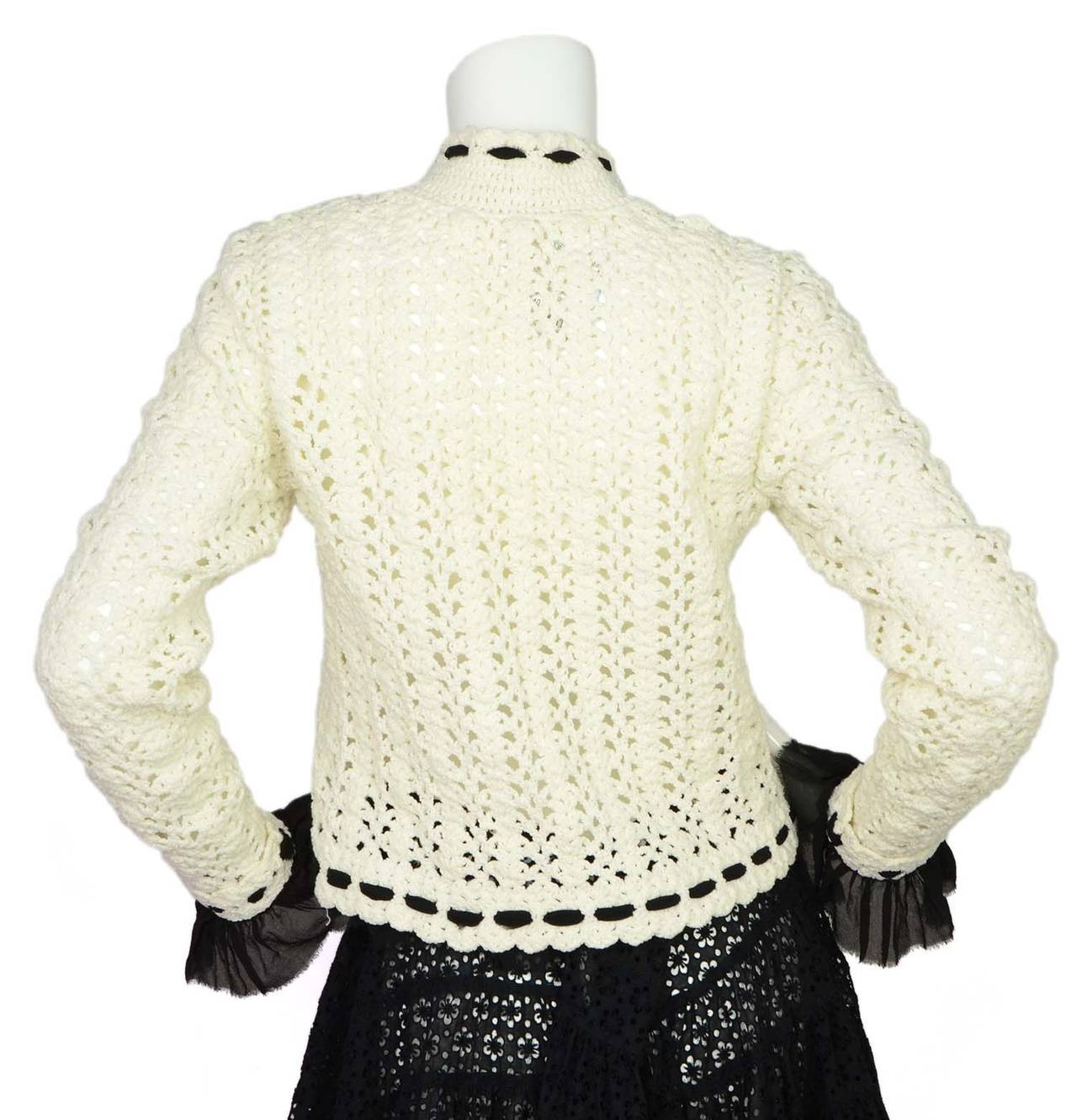 CHANEL White and Black Crochet Cardigan sz 40 at 1stdibs
