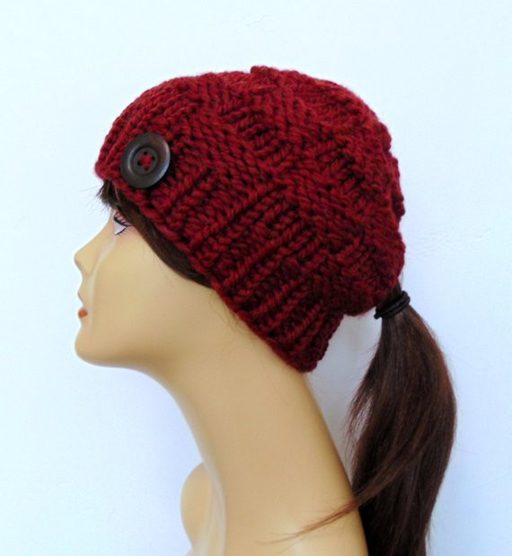 Chunky Knit Earthy Red Ponytail Hat Beanie Pony Tail Hole