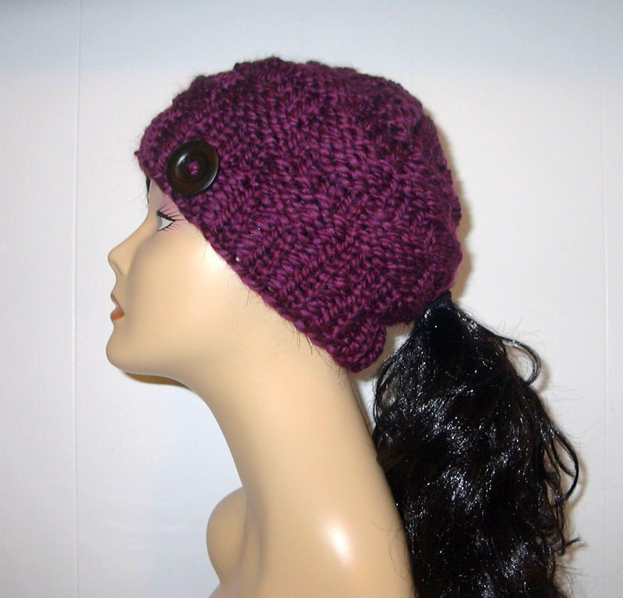 Luxury Chunky Knit Purple Plum Ponytail Hat Beanie Pony Tail Hole Ponytail Winter Hat Of Incredible 45 Pictures Ponytail Winter Hat