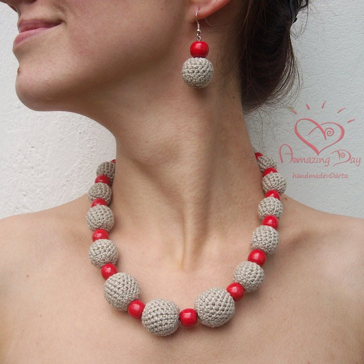 Luxury Chunky Red & Grey Necklace Crocheted Linen Necklace Crochet Bead Necklaces Of Unique 44 Photos Crochet Bead Necklaces