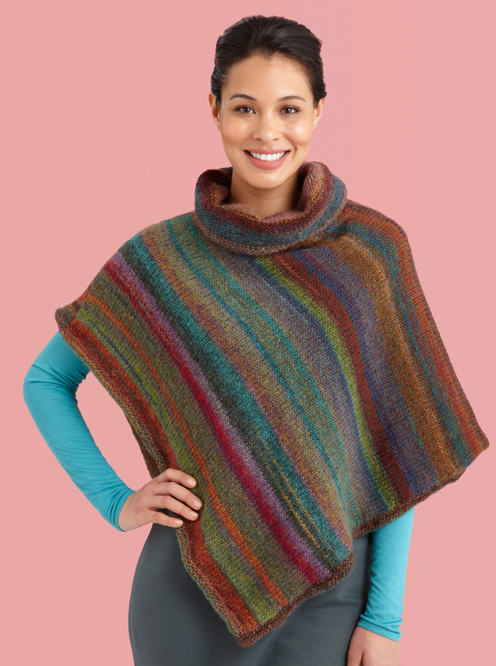 Luxury Cowl Neck Striped Poncho In Lion Brand Amazing L Free Poncho Knitting Patterns Of Incredible 43 Models Free Poncho Knitting Patterns