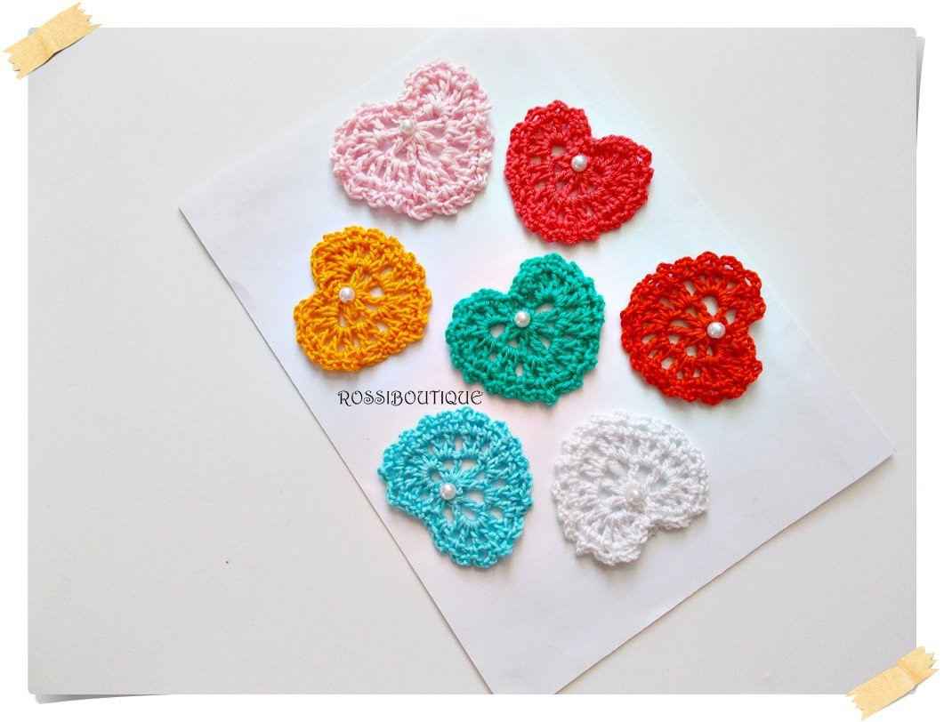 Crochet Applique Crochet heart Motif heart craft supplies