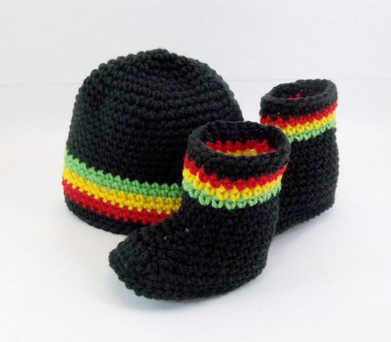 Luxury Crochet Baby Booties & Hat Set Rasta Jamaican Style Black Rasta Hat Crochet Pattern Of Incredible 43 Pictures Rasta Hat Crochet Pattern